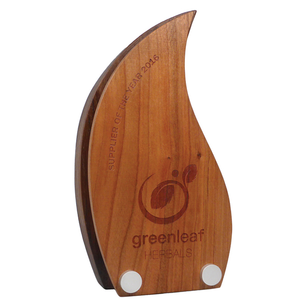 Real Wood Block Award with Wooden Face Plate