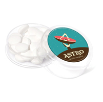 Mini round pot filled with sugar free mints