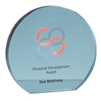 12.5cm x 19mm Clear Glass Freestanding Circle Award
